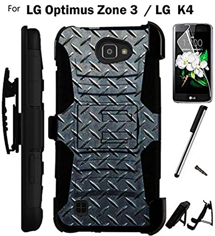 [WORLD ACC®] For LG Optimus Zone 3 / LG K4 Case VS425 Armor Hybrid Rugged Silicone Phone Cover Kick Stand LuxGuard Holster+LCD Screen Protector+Stylus (Lg Optimus Cell Phone Holster)