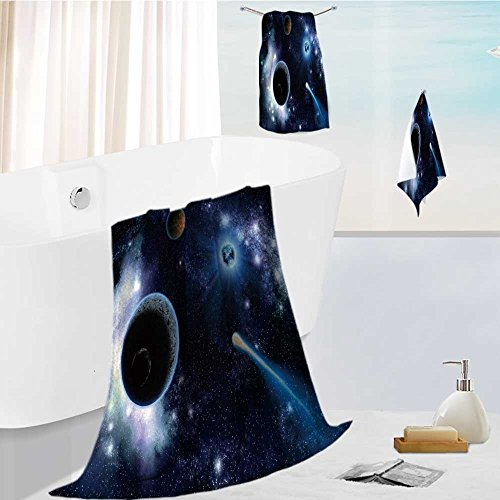 AuraiseHome joker bath towel set The two planets solar system deep in the galaxy Highly Absorbent Machine Washable 19.7''x19.7''-13.8''x27.6''-31.5''x63'' by AuraiseHome