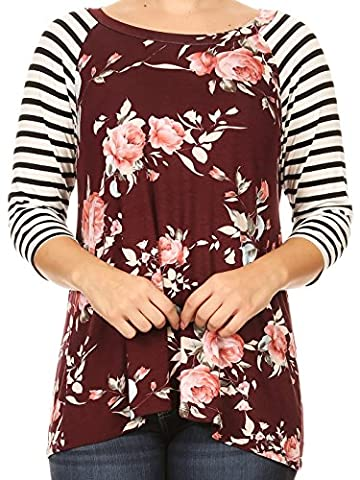 Women Plus Size Striped Sleeve Floral Printed Jersey Tunic Knit Top Tee Maroon XL B4991 - Plus Size Print Jersey