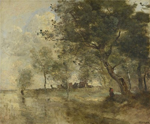 Perfect Effect Canvas ,the Cheap But High Quality Art Decorative Art Decorative Canvas Prints Of Oil Painting 'Jean Baptiste Camille Corot A Flood ', 8 X 10 Inch / 20 X 25 Cm Is Best For Home Office Artwork And Home Gallery Art And Gifts (Tote Tuscany Wine)