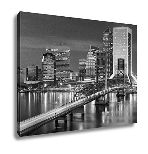 Ashley Canvas Jacksonville Floridusdowntown City Skyline, Wall Art Home Decor, Ready to Hang, Black/White, 16x20, AG5431651 (Home Decor Fl Jacksonville)