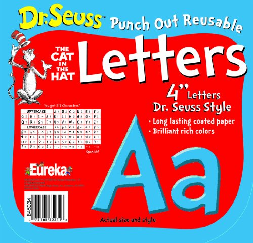 Punch Board Outs Bulletin (Eureka Back to School Dr. Seuss The Cat in The Hat Blue Punch Out Deco Letters Classroom Decorations, 217pc, 4'' H)