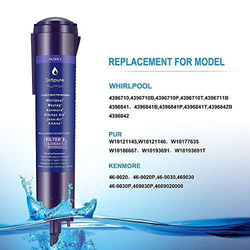 4396841 Refrigerator Water Filter 3 for 4396710, 4396841, EDR3RX1 Filter 3, Pur Water, Kenmore 9030 Water Filter - 1PCS by Dropure (Image #1)