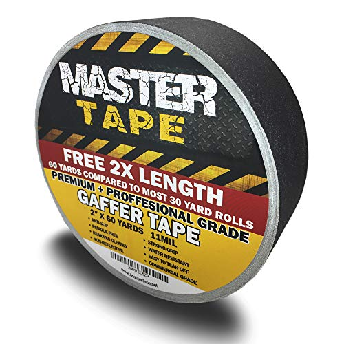 "Gaffers Tape - Premium Grade Professional Gaffer Tape, DJ Pro Gaff Tape Black - 2 inch X 60 Yards - Easy Tear Gaffing Tape Black - True 2"" Width"