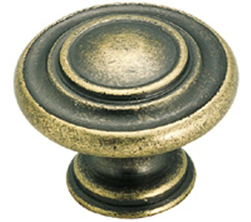 Amerock BP1586-R2 Inspirations 3-Ring 1-3/8-Inch Diameter Knob, Weathered Brass - Weathered Brass Single