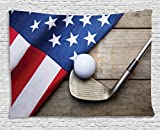 Cheap Ambesonne Sports Decor Collection, Golf Ball With Flag Of Usa On Wood Table Patriotism Rustic Country Style , Bedroom Living Room Dorm Wall Hanging Tapestry, 60W X 40L Inch