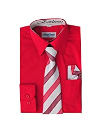 Berlioni Italy Kids Boys Dress Shirt with Tie & Hanky Long Sleeves Red