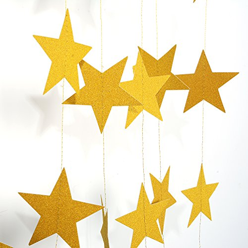 Silvery Star - Gold Star Garland-Takefuns Silvery Christmas galaxy banner,Twinkle Little Star String garland Christmas garland for Wedding Birthday Party Baby Shower Decorations(4 inch in Diameter, 13 Feet)