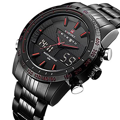 Tamlee Men's Military Sports Watches Dual-display Multi-function Waterproof Stainless Steel Wrist Watch