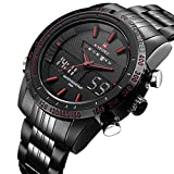 Tamlee Men's Military Sports Watches Dual-display Multi-function Waterproof Stainless Steel Wrist Watch