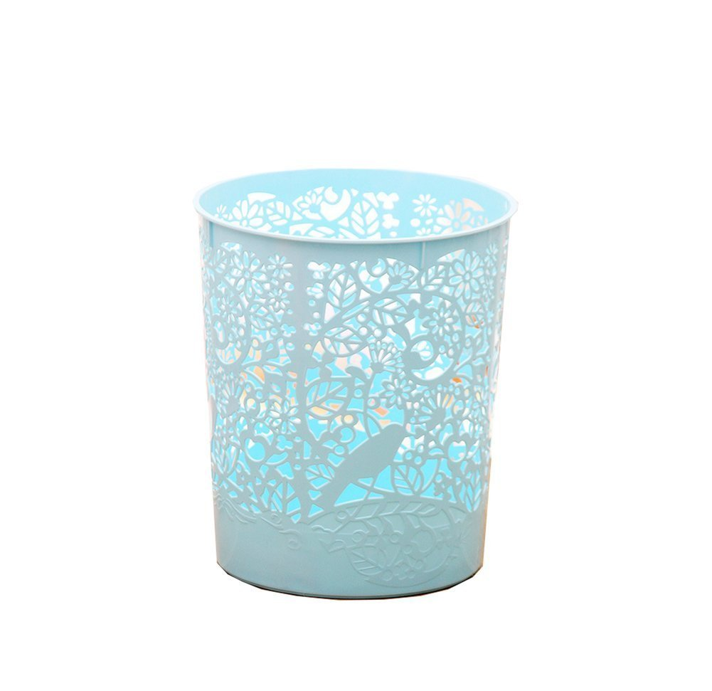 iTECHOR European Style Classic Household Home Office Round PU Leather Trash Can Waste Bin Wastebasket Waste-paper Basket Ashcan Ashbin Garbage Can Trash Can without Lid Waste Bin