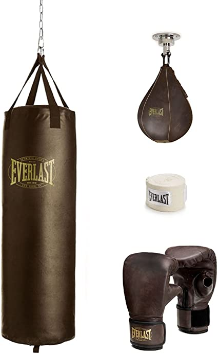 Everlast 100 lb Vintage Heavy Bag Kit Brown