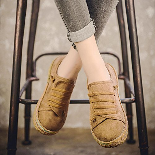 Khaki in Up Femminile delle Scarpe camoscio Pelle di Caviglia Piatto Lace Donne Lace Boots Stivali SOMESUN Women Signore Singolo Morbido Up PaxqwwARH
