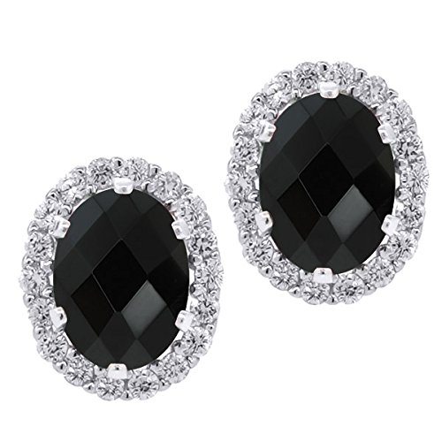 Black Onyx Gem Studs (2.76 Ct Oval Checkerboard Black Onyx Gemstone Sterling Silver Stud Earrings with)