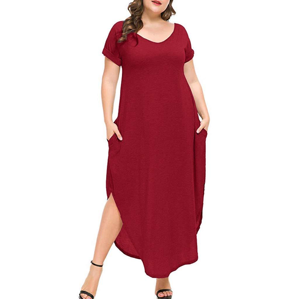 Womens Clothing Work Dresses,Solid Color Base Skirt Plus Size V-Neck Loose Long Dress Short Sleeve Side Split Maxi Dresses