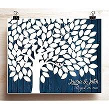Navy Wedding Guest Book Tree Poster Woodgrain look Wedding Guest book Alternative for 125 Guests
