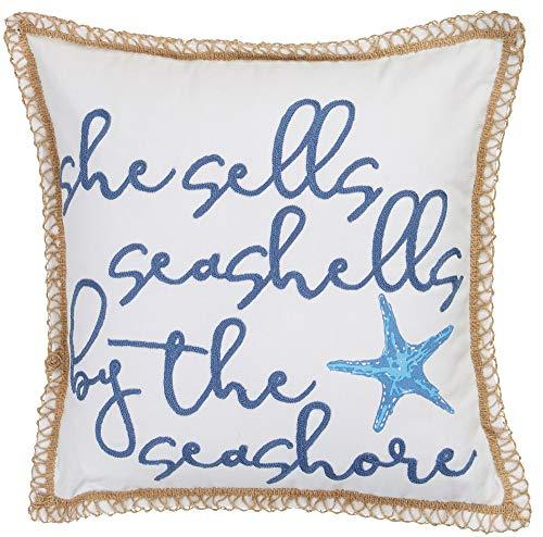 Coastal Home She Sells Seashells Decorative Pillow One Size White/Blue