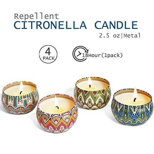 YIIA Citronella Scented Candles Set 4 Natural Soy Wax Travel Tin 2.5oz, Outdoor and Indoor