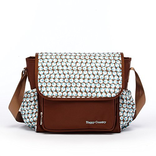 Small Diaper Bag Crossbody Baby Bags for Mom Messenger Turquoise Polka Dot Brown Nylon Coches Para Bebes with Bottle Pockets for Travel Women Medium Size Nappy Bag for Girls Boys Adjustable Wide Strap