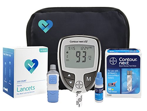 OWell Bayer Contour NEXT EZ Complete Diabetes Blood Glucose Testing Kit, METER, 50 Test Strips, 50 Lancets, Lancing Device, Control Solution, Manual, Log Book & Carry Case (Reminder Device)