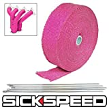 Pink Turbo Manifold Heat Exhaust Thermal Wrap Tape & Stainless Ties 2