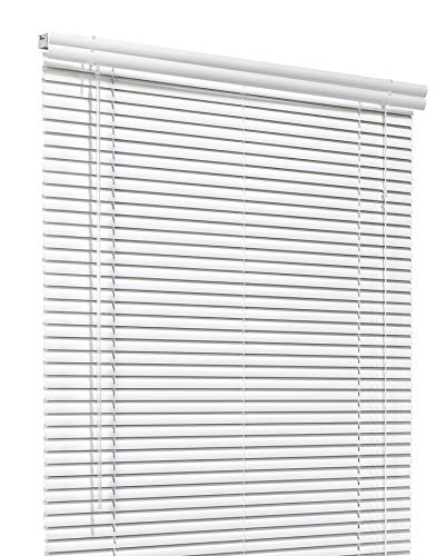 CHICOLOGY Custom Made Corded 1-Inch Aluminum Mini Blind, Blackout Horizontal Slats, Inside Mount, Room Darkening Perfect for Kitchen-Bedroom-Living Room-Office and More – 79″ W X 60″ H, White