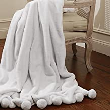 "Best Home Fashion Luxe Faux Fur Pom Throw - Lounge Blanket - Grey - 58""W X 60""L - (1 Throw) …"