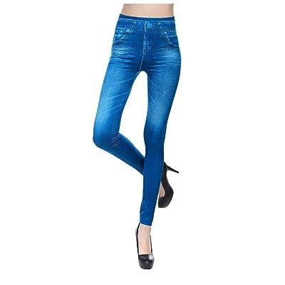 Ohbiger Women's Jeggings Stretch High Waist Slim Imitation Denim Seamless Leggings Denim Print Sport Gym Yoga Pants Capri: Clothing
