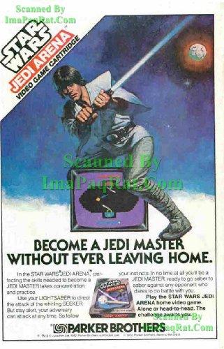 Star Wars Jedi Arena: 1982 Video Game: Luke Skywalker, Lightsaber, Death Star: Great Original Print Ad