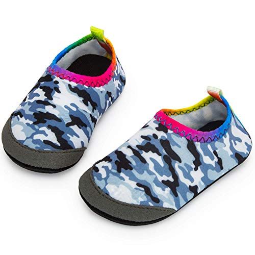 Apolter Baby Boys and Girls Swim Water Shoes Barefoot Aqua Socks Non-Slip for Beach Pool, Camouflage/Grey, 6.5-7 Toddler ()