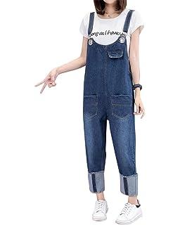 fa05128b1d74 Yuandian Mujer Petos De Pantalon Vaquero Casual Baggy Pierna Ancha ...