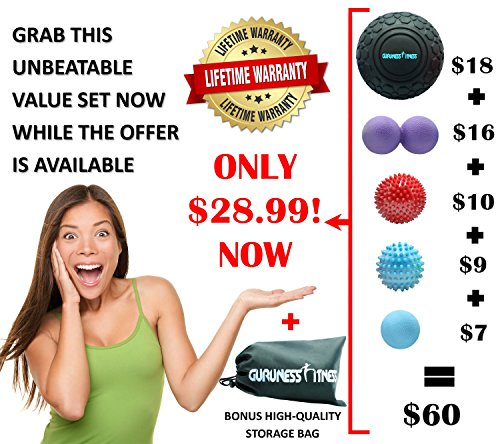 Massage Ball Set for Deep Tissue Recovery, Trigger Point Therapy, Myofascial Release, Muscle Knots, Mobility MOD, Plantar Fasciitis- 5'' Foam Roller Ball, Peanut Double Ball, Spiky Balls, Lacrosse Ball by GURUNESS FITNESS (Image #6)