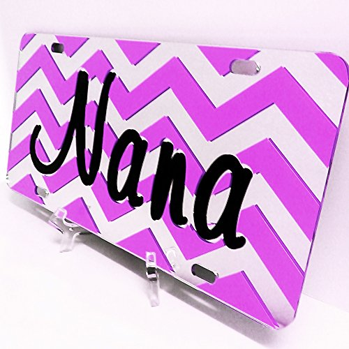 Chevron License Plates for Nana. Pesonalized License Plates  Mirror Acrylic Car Tag. Choice of Colors for Stripes. Handmade Car Tag for Nana