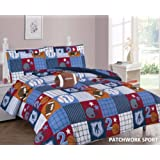 Elegant Home Patchwork Sports Football Basketball Baseball Design Printed 6 Piece Comforter Bedding Set for Boys /Kids Bed In a Bag With Sheet Set & Decorative TOY Pillow # Patchwork (Twin Size)