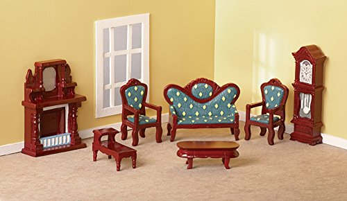 Collectible Mini Living Room Furniture Set - 7 pc - Table Clocks Furniture Collections