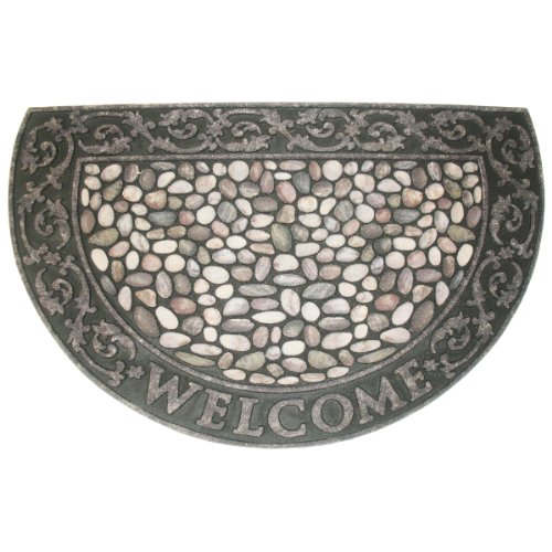 Non-Slip Outdoor/Indoor Printed Flocked Half Round Doormat,23x35