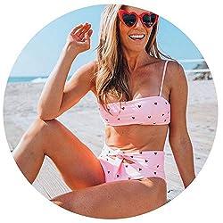 Summer Newest Women Love Bra Heart Printing Split Female Beach Wear Suit Swimsuit Swimwear Pink