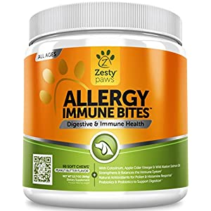Zesty Paws Allergy Immune Supplement for Dogs - with Omega 3 Wild Alaskan Salmon Fish Oil & EpiCor + Digestive Prebiotics & Probiotics - Anti Itch & Skin Hot Spots + Seasonal Allergies 6