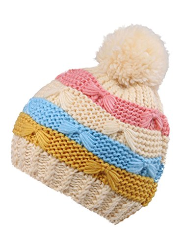 Younglove Boys/Girls Hat Kids and Toddlers' Diamond Cable Knit Beanie, Cream Stripes by YoungLove (Image #3)
