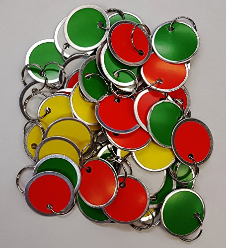 Amram Round Key Tags with Metal Rim & Split Key Ring, 1 1/4 Inch Diameter, Assorted Colors- 12 Pcs Red, 12 Pcs Yellow, 12 Pcs Green, 14 Pcs White ()