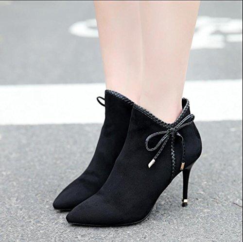 KHSKX-9.5Cm Nero Inverno Nuova Punta Ladies Boot Raso Bow Tie Chiusura Lampo Laterale Fine E Con I Tacchi Alti E Stivali Stivali Nudi Femmina 37