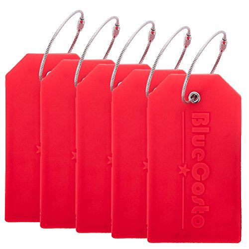 BlueCosto 5x Luggage Tags Suitcase Tag Travel Bag Labels w/Privacy Cover - Red