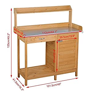 Yaheetech Outdoor Garden Potting Bench Metal Tabletop W/Cabinet Drawer Open Shelf Natural Wood