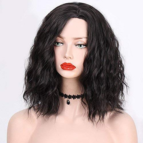 ENTRANCED STYLES Short Black Wig Bob Curly Wig for Women Synthetic Wigs for Girls Natural Wig with Side Parting Heat Resistant Fiber ()