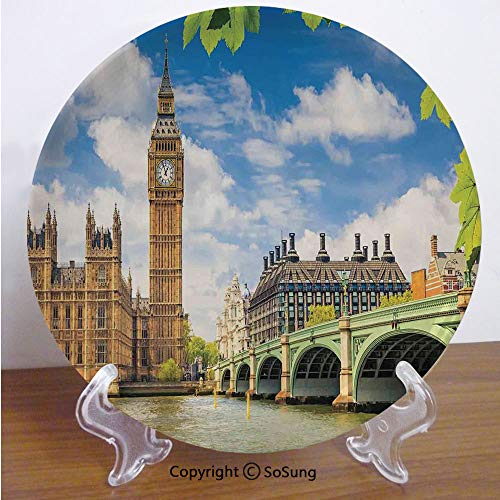 "London 7"" Ceramic Decorative Plate,Historical Big Ben and Westminster Bridge Fresh Spring Season Leaves Picture Blue Green Ivory,for Living Room, Bedroom, Hallway Console Side Table Decor"