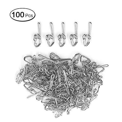 LANGING 100Pcs Metal Curtain Hooks Butterfly Drapery Pencil Pleats Header Tape Hook