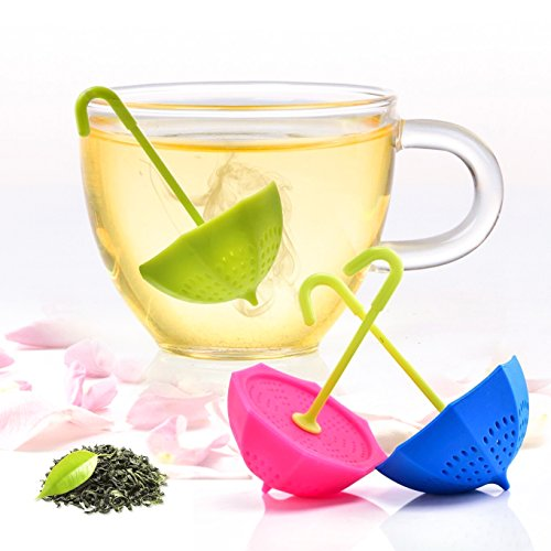 Tea Bag Infuser-Senbowe™ 3 Pack Colorful Genuine Premium Silicone Umbrella Reusable Tea Ball Infuser Strainer Steeper Set for Loose Leaves & Herbal Teas-Great Gift for Tea Lovers by senbowe