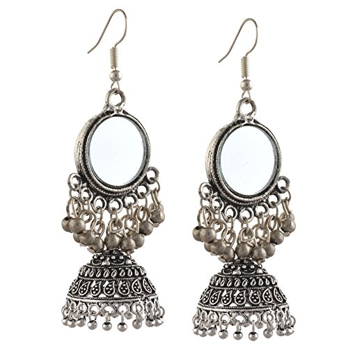 Zephyrr Fashion Oxidized Silver Lightweight Stud Earrings for Women with Pearl