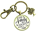 Every Family Has a Story, Welcome to Ours Vintage Bronze Keychain 1.20'' Pendant Key Chain Gift For Son In Law Groom Step Child Foster Adoption Family Tree Charm