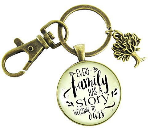 Every Family Has a Story, Welcome to Ours Vintage Bronze Keychain 1.20'' Pendant Key Chain Gift For Son In Law Groom Step Child Foster Adoption Family Tree Charm by Gutsy Goodness